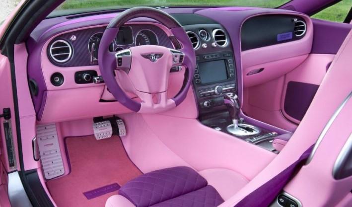 độ nội thất ô tô dành cho chị em phụ nữ tông hồng và tím sậm